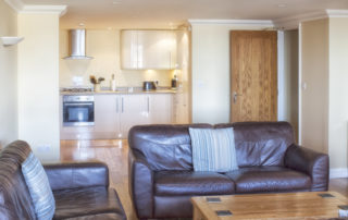 Mountbatten_Garden_living_and_Kitchen. Shanklin Villa Luxury Self Catering Holiday Apartments, Isle of Wight.