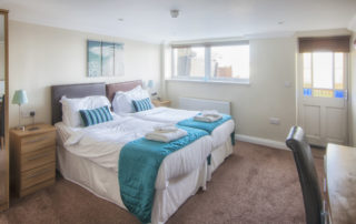 Mountbatten_Twin_Bedroom. Shanklin Villa Luxury Self Catering Holiday Apartments, Isle of Wight.